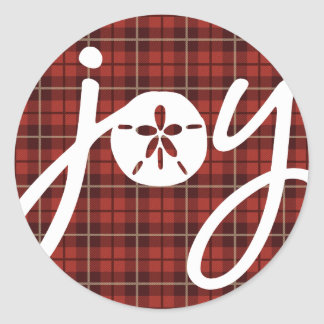 Joy Sandollar Plaid Classic Round Sticker