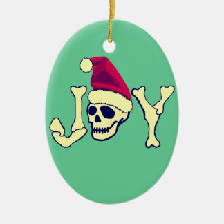 Joy - Santa SKull Ceramic Ornament