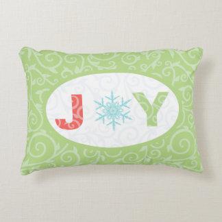 Joy Snowflake Green Pastel Damask Holiday Accent Pillow