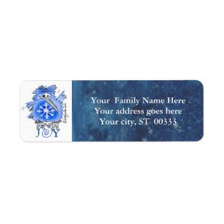 Joy Snowflake Kiwi Bird Blue Address Label