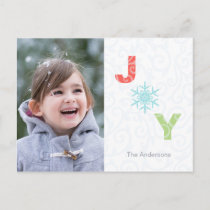 Joy Snowflake Pastel Damask Photo Holiday