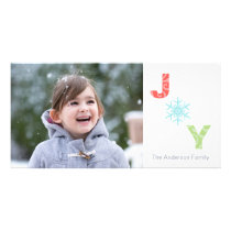 Joy Snowflake Pastel Damask Photo Holiday Card