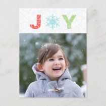 Joy Snowflake Pastel Damask Photo Holiday Postcard