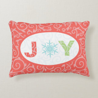 Joy Snowflake Red Pastel Damask Holiday Accent Pillow