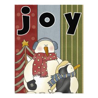 JOY Snowman and Penguin Holiday Cards Letterhead
