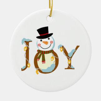 Joy Snowman Double-Sided Ceramic Round Christmas Ornament
