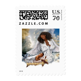 Joy to the World. Afro Angel and Baby Jesus Stamps