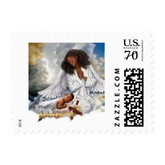 Joy to the World Afro Angel and Baby Jesus Stamps