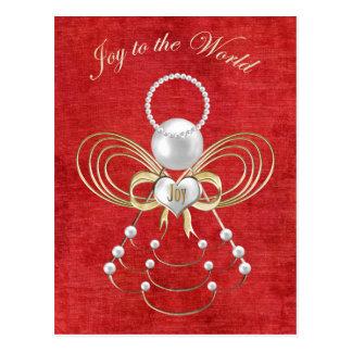 Joy to the World - Angel of Joy - Red Postcard