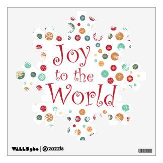Joy to the World Big Christmas Snowflake Wall Decal