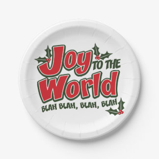 Joy to the World Blah Blah Funny Holiday Plates