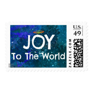 Joy To The World Blue Green Abstract Christmas Postage