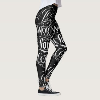 Joy to the World Calligraphy Christmas Religious Leggings