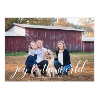Joy to the World Calligraphy Holiday Photo Card