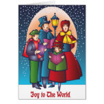 Joy to the World Carolers Singing Greeting Card
