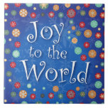 Joy to the World Celebrate Christmas and New Years Large Square Tile