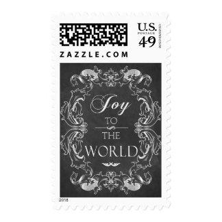 Joy to the world Chalkboard Christmas postage