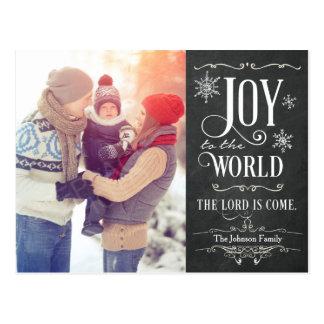 Joy to the World Chalkboard Christmas Postcard