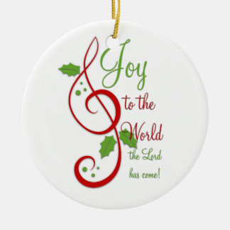 Joy to the World Christian Christmas Carol Music Ceramic Ornament
