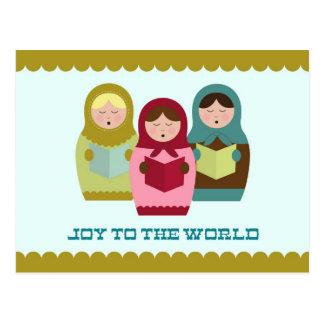 Joy to the World Christmas card with matryoshkas