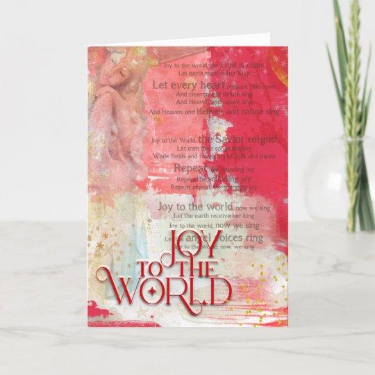 Joy To The World Christmas Carol Lyrics Angel Holiday Card | Zazzle.com