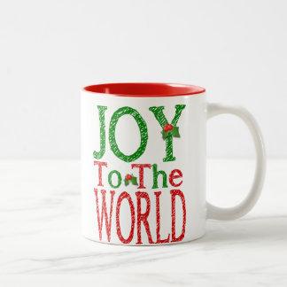 Joy To The World Christmas Holly Two-Tone Coffee Mug