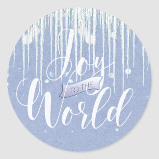 Joy to the World Christmas Icicles ID278 Classic Round Sticker