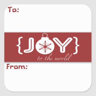 Joy To The World Christmas Ornament Gift Sticker