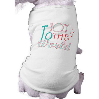 Joy to The World Christmas Typography Music Notes Tee