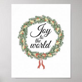 Joy to the World Christmas Wreath Poster
