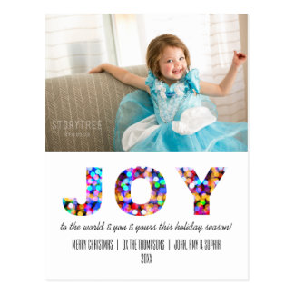 Joy to the World Colorful Sparkly Holiday Postcard