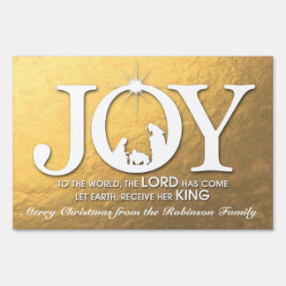 Joy to the World (gold) | Christmas Yard Sign