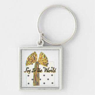 Joy to the World Gold Holiday Ribbon Key Chain