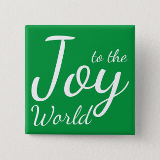 Joy to the World Green Holiday Button