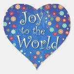 Joy to the World Happy Polka Dot Snowflake Design Sticker