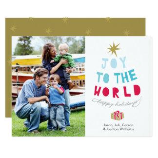 Joy to the World - Holiday Photo Card - gold stars