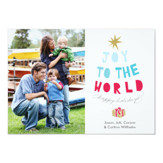 Joy to the World - Holiday Photo Card - gold stars Personalized Invite