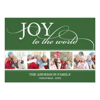 JOY TO THE WORLD HOLIDAY PHOTO CARD PERSONALIZED ANNOUNCEMENT
