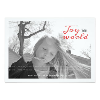 Joy to the World Holiday Photo Christmas Red White Invite