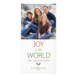 Joy to the World Holly Religious Christmas Personalized Photo Card
