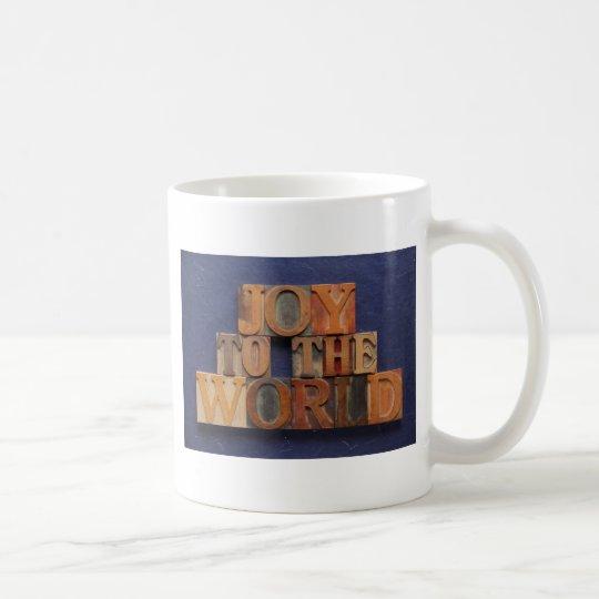 joy to the world in old wood type big mug