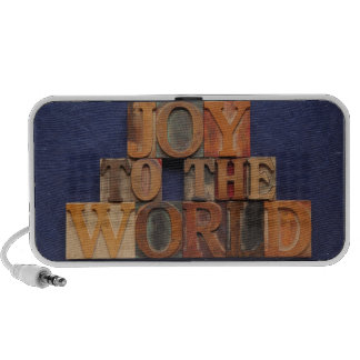 joy to the world in old wood type speaker