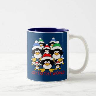 Joy to the World Penguins on Tshirts, Gifts Two-Tone Coffee Mug