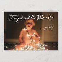 Joy to the World Photo Christmas Holiday Aqua Blue
