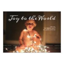 Joy to the World Photo Christmas Holiday Aqua Blue Card