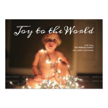 Christmas Themed Joy to the World Photo Christmas Holiday Aqua Blue Card
