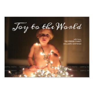 Joy to the World Photo Christmas Holiday Aqua Blue 5x7 Paper Invitation Card