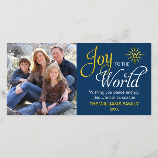 Joy to the World Religious Christmas Navy Blue Holiday Card
