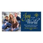 Joy to the World Religious Christmas Navy Blue Customized Photo Card