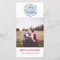 Joy to the World script Christmas Photo Card